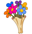 cartoon flower bouquet vector image vector image