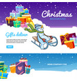 christmas banners holiday gifts colored packages vector image vector image