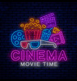 cinema bright neon sign vector image vector image