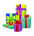 colorful gift composition gift boxes in cartoon vector image