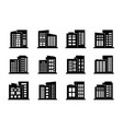 company icons and black buildings set isolated vector image vector image