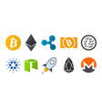 cryptocurrency logo icon set vector image