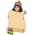 cute mexican girl holding scroll vector image vector image