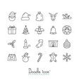 doodle christmas icons vector image