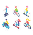 eco transportation bicycles and scooters boards vector image vector image