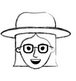 female face with hat and glasses with short vector image vector image