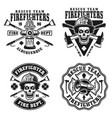 fire department set four emblems vector image vector image