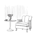 Furniture in summer cafe Chair and table sketch vector image vector image