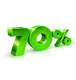 glossy green 70 seventy percent off sale vector image vector image