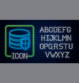 glowing neon database protection icon isolated on vector image vector image