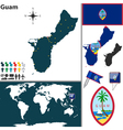 Guam map world vector image vector image
