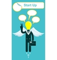happy lamp head businessman with victory vector image vector image