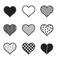 hearts icon set black silhouette vector image vector image