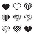 hearts icon set black silhouette vector image vector image
