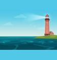 lighthouse on on the little island cartoon vector image vector image