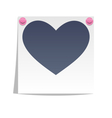 Love photo frame on wall with pink pins isolated vector image vector image