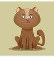 lovely kitten brown sit icon vector image
