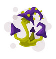 magical poisonous mushroom occult magic object vector image