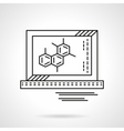 Molecule on monitor flat line icon vector image
