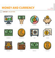 money and currency icon set vector image vector image