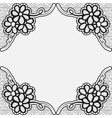 Monochrome lace frame Template greeting card or vector image