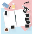 note book with camera and photo other on the vector image vector image