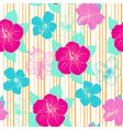 pattern with hand drawn decorative hibiscus vector image vector image