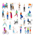 people with cell phones icons vector image