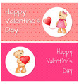 poster with cute teddy bears holding heart balloon vector image vector image