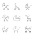 pram stroller icon set outline style vector image