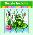 puzzle game for kids princess frog education vector image vector image