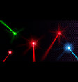 red green and blue laser beams with glow effect vector image