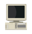 retro computer front view device equipment flat