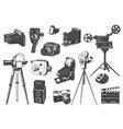 retro photo and movie cameras on tripod set vector image