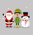 santa claus with elf and snowman celebration vector image vector image