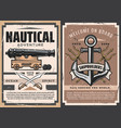 sea ship anchor naval cannon vector image vector image