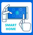 smart home management app flat banner template vector image vector image