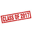 square grunge red class of 2017 stamp vector image vector image