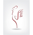 stylized cock on gray background vector image