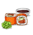 sushi color sketch California roll vector image vector image