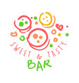 sweet and tasty bar logo colorful hand drawn vector image