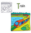 train coloring book page vector image