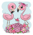 two cartoon flamingos on a blue background vector image vector image