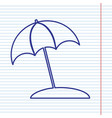 umbrella and sun lounger sign navy line vector image vector image