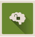unlocked brain on green background with shade vector image vector image