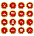 usa icon red circle set vector image vector image