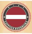 Vintage label cards of Latvia flag vector image vector image