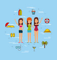 group girls beach vector image