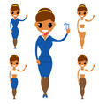 stewardess characters isolated worker stewardess vector image