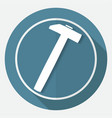 icon hammer and nail on white circle with a long vector image